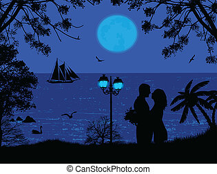 Blue sea sunset with couple silhouettes