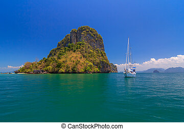 Blue Sea under Clear Sky and Mountain, The Nature of the Gulf in Krabi, Thailand