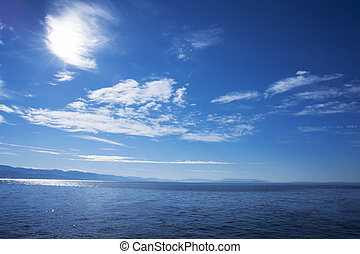 Blue sea water surface cloudy sky