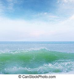 Blue sea wave splash