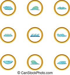 Blue sea waves icons set, cartoon style