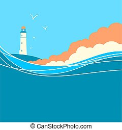 Blue sea waves with lighthouse.Vector nature poster