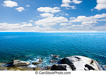 Blue sea with blue sky