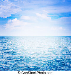 Blue sea with cloud for natural background