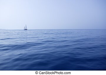 Blue sea with sailboat sailing the ocean surface summer...