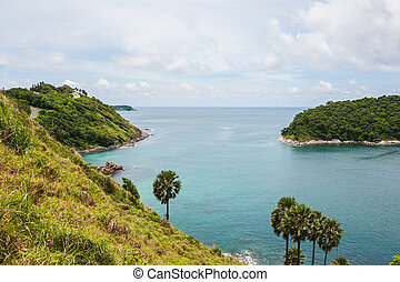 Blue sea with white cloud and island, Phuket thailand