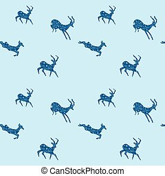 blue seamless background with blue goats - vector