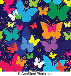 Blue seamless background with butterflies, vector...