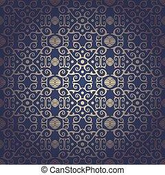 Blue Seamless floral baroque vector