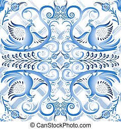 Blue seamless light pattern in ethnic style Gzhel a watercolor substrate. Stylized painting on porcelain.