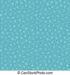 Blue Seamless Medical Pattern. Isolated on White Background....