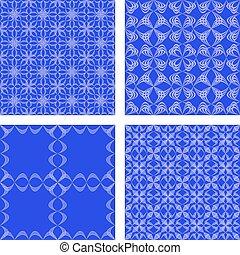 Blue seamless pattern background set