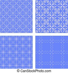 Blue seamless pattern background set