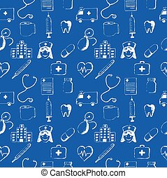 Blue seamless pattern-medical items