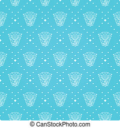 Blue Seamless Pattern with Decorative Elements