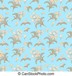 Blue seamless pattern with floral ornament