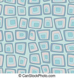 Blue seamless pattern with geometric squares pop art imitation
