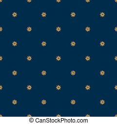 Blue seamless pattern with gold snowflakes