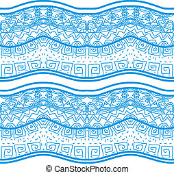 Blue seamless pattern with nature elements. Vector illustration.
