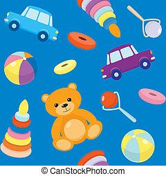 Blue seamless pattern with toys