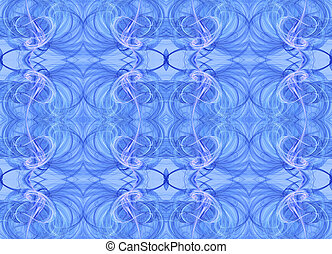 Blue Seamless Textile Fractal - Seamless continuous fractal...