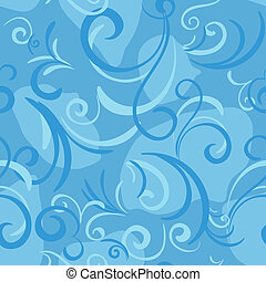 blue seamless with swirl and petal for textile background, eps 8