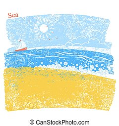 blue seascape with beach and sky. Vector illustration background of sea landscape
