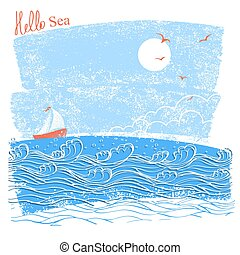 blue seascaper with sailing ship. Vector illustration of sea landscape for text