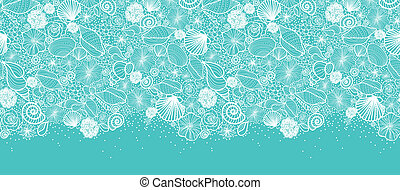 Blue seashells line art horizontal seamless pattern border...