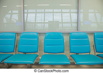 blue seat in airpor