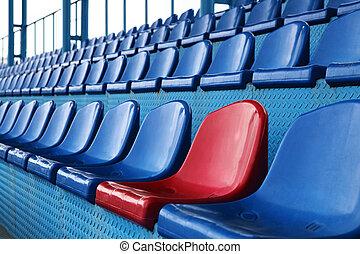 blue seats at stadium