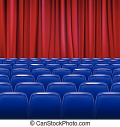 Blue seats in hall with curtain