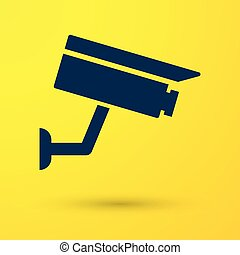 Blue Security camera icon isolated on yellow background. Vector Illustration