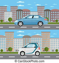 Blue sedan and white smart car on road in city