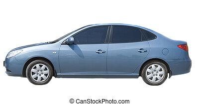 Blue sedan isolated on white background.