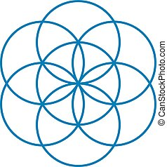 Blue Seed of Life. Unique geometrical figure, composed of...