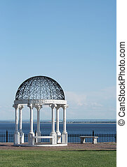 Blue Serenity by the Lake - Beautiful white gazebo by the...