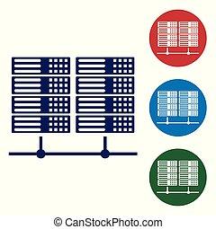 Blue Server, Data, Web Hosting icon isolated on white...
