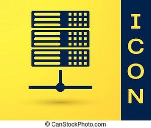 Blue Server, Data, Web Hosting icon isolated on yellow background. Vector Illustration