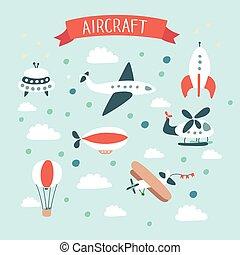 blue., set., métiers, illustration, avion, vecteur, air, fusée