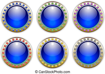 Blue Set of 6 Color Combinations Glossy Vector Buttons