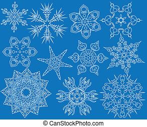 Blue set of snowflakes