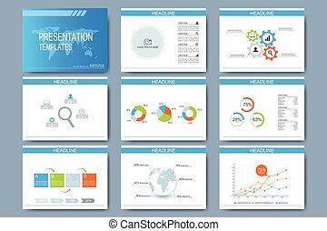 Blue set of vector templates for multipurpose presentation slides. Modern business flat design with graphs and chart. Leaflet marketing advertising