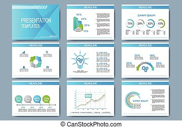 Blue set of vector templates for presentation slides. Modern business design with graph and charts
