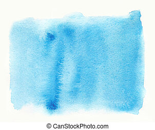 Blue set watercolor strokes hand drawn isolated paper texture stain on white background. Wet brush painted smudges abstract striped illustration.