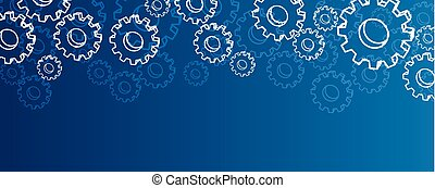 Blue settings banner with gears. - Blue settings banner with...