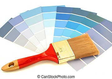 blue shade paint swatches, and small paint roller for home decorating