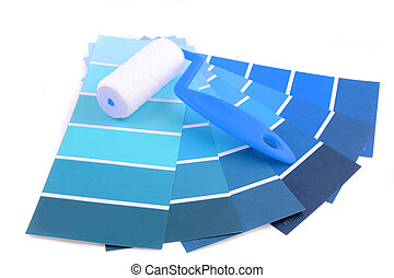 blue shade paint swatches, and small roller brush for home decorating