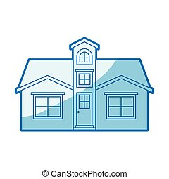 blue shading silhouette facade house with attic vector...