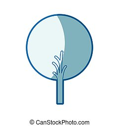 blue shading silhouette of abstract tree with foliage in round shape